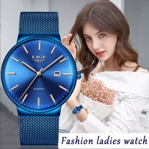 New Quartz Full Blue Mesh Stainless steel watch